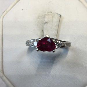 Jewelry - 18K white gold diamonds Ruby ring
